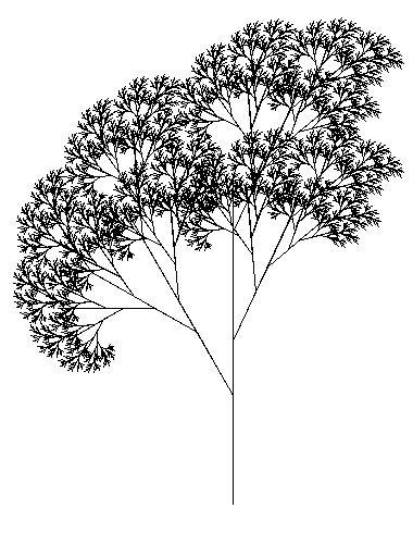 Tree created using the Logo programming language and relying heavily on recursion.