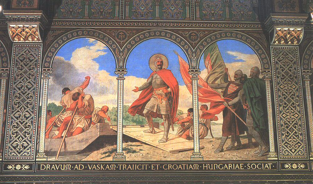 Bertalan Székely (1835-1910): Den hellige Ladislas krysser elven Drava (1887-89), veggmaleri i Mariakapellet i katedralen i Pécs