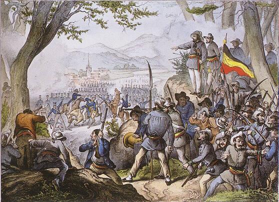 Zeitgenössische Lithografie des Gefechts bei Kandern aus der Perspektive der Revolutionäre am 20. April 1848, bei der der Heckeraufstand niedergeschlagen wurde