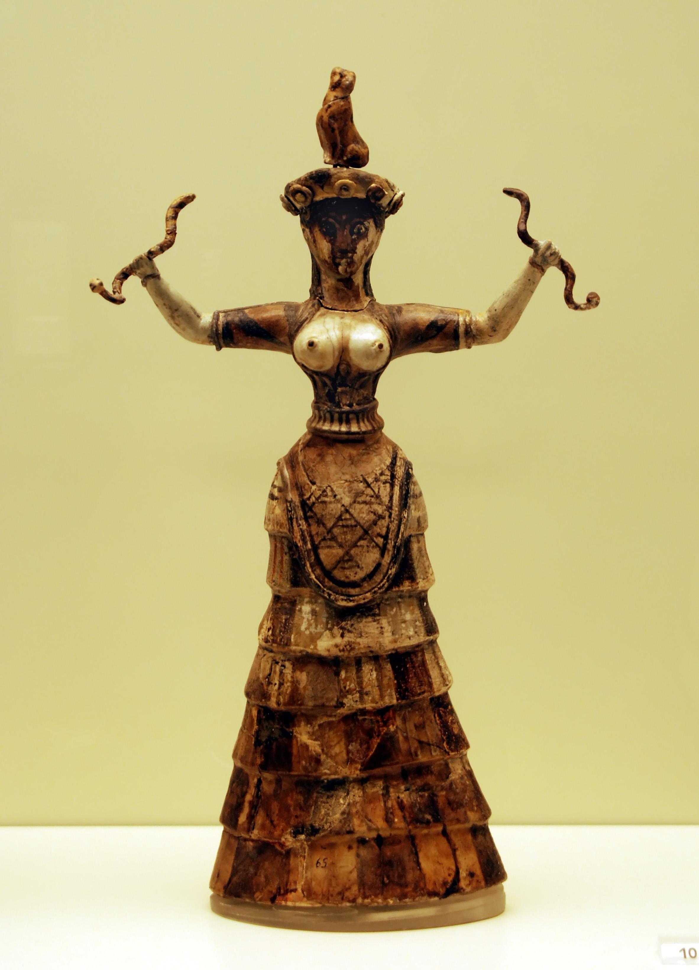 Minolainen käärmejumalatar Knossoksesta noin 1600 eaa, Photo by George Groutas CC Atribution 2.0 generic