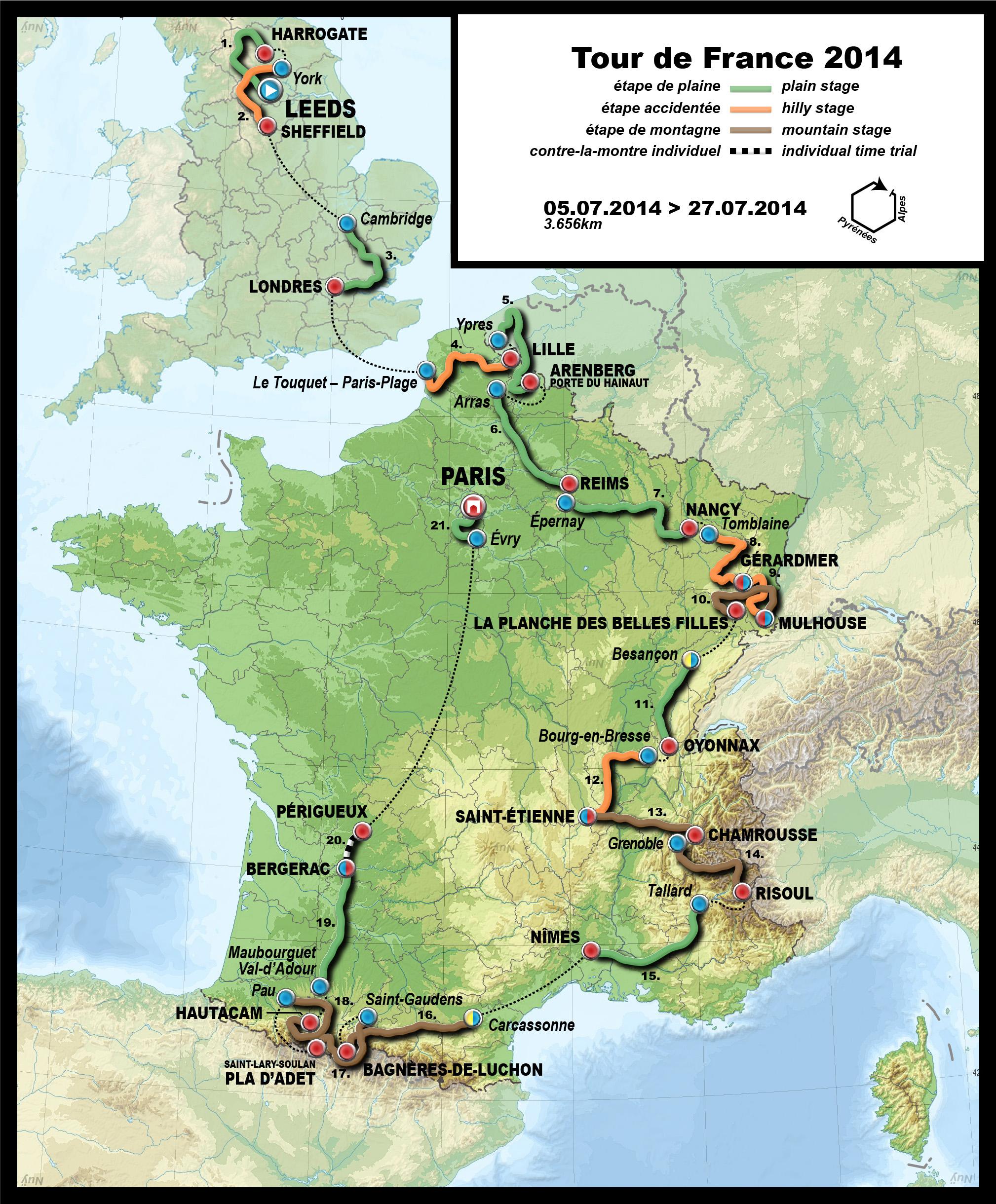 Route of the 2014 Tour de France (Europe) [2018 x 2440 ...
