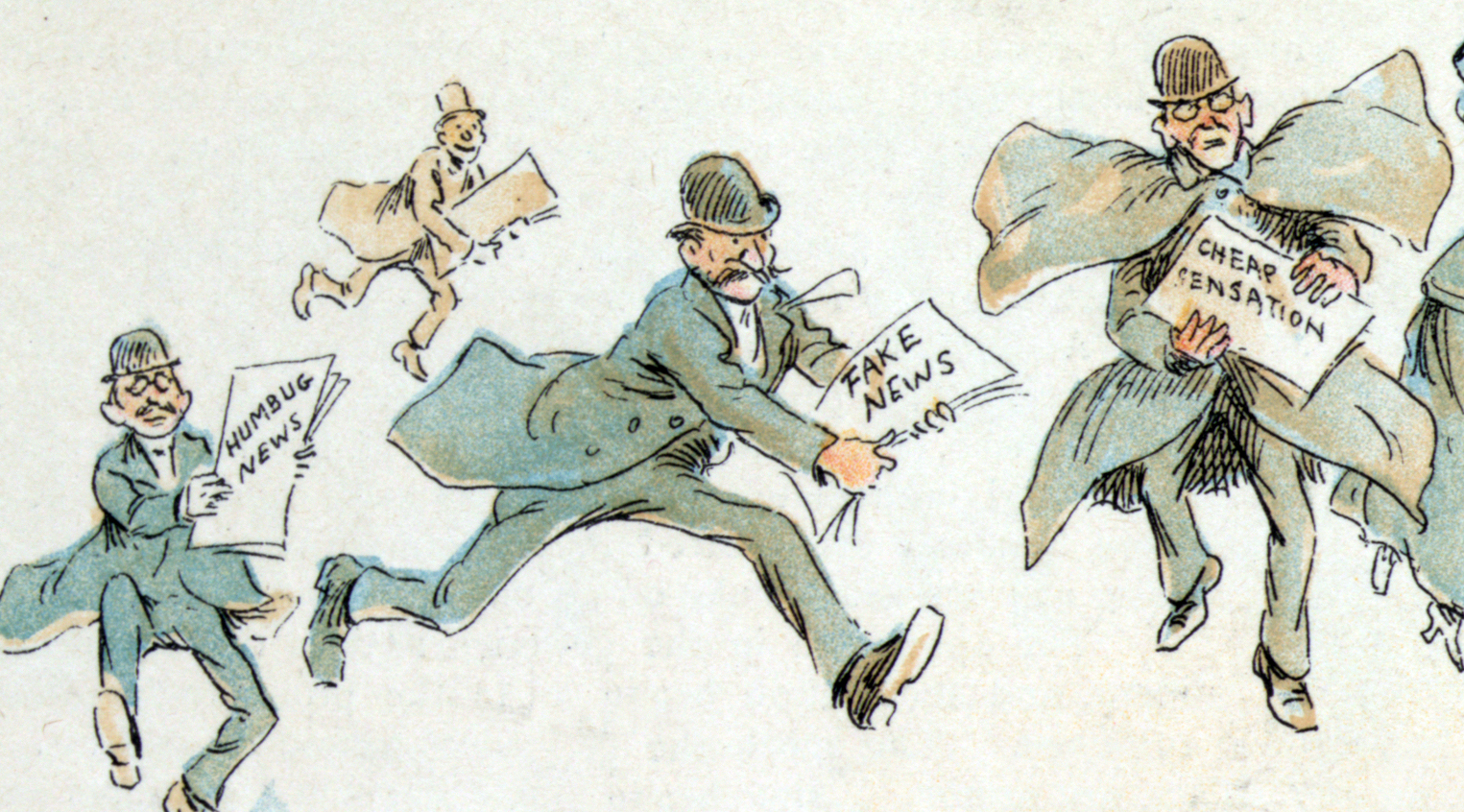 cartoon of men running with fake news paper