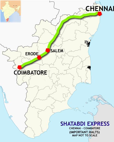 Coimbatore Route Map Chennai Central–Coimbatore Shatabdi Express   Wikipedia