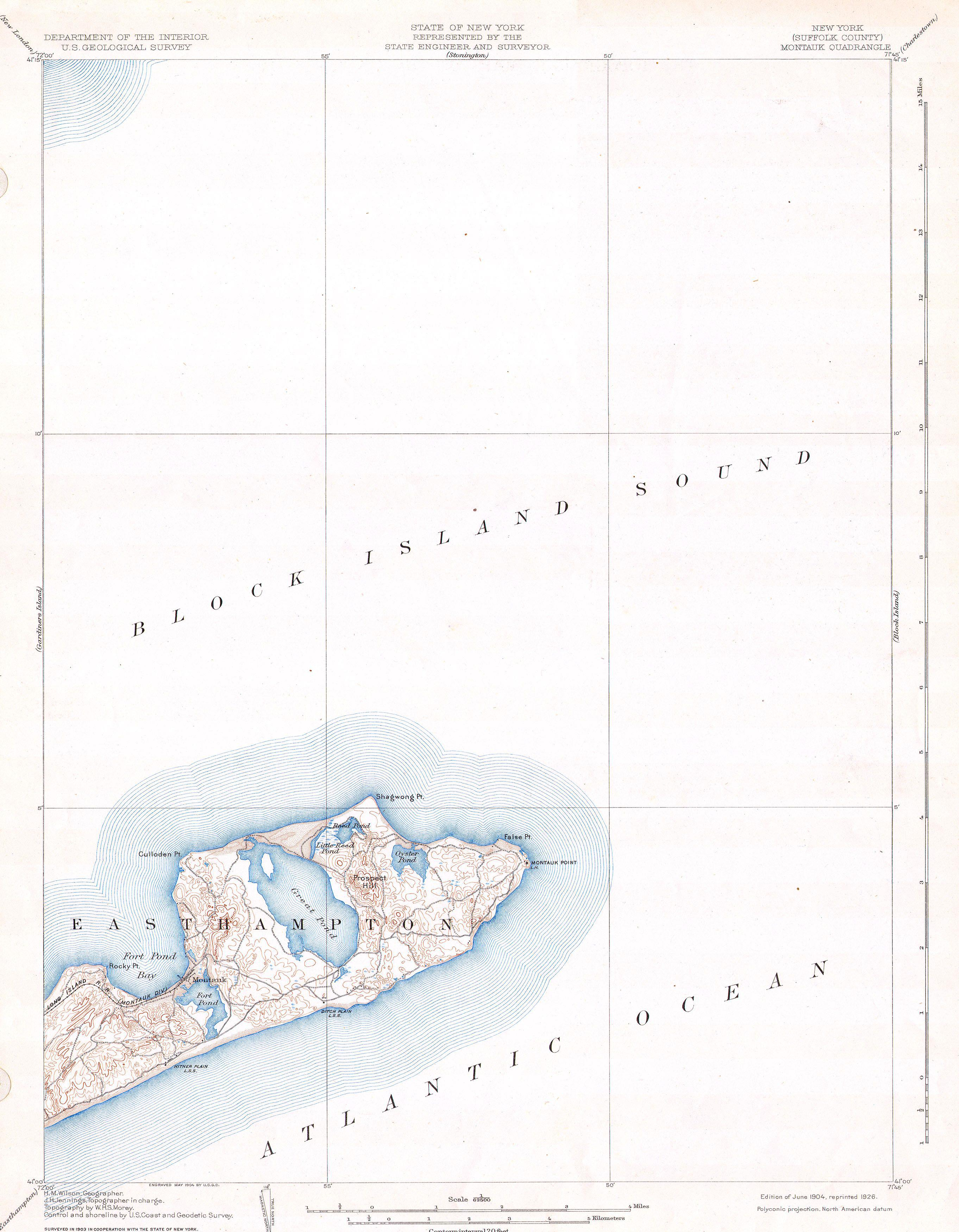 File1904 USGS Map of Long Island New York  Montauk