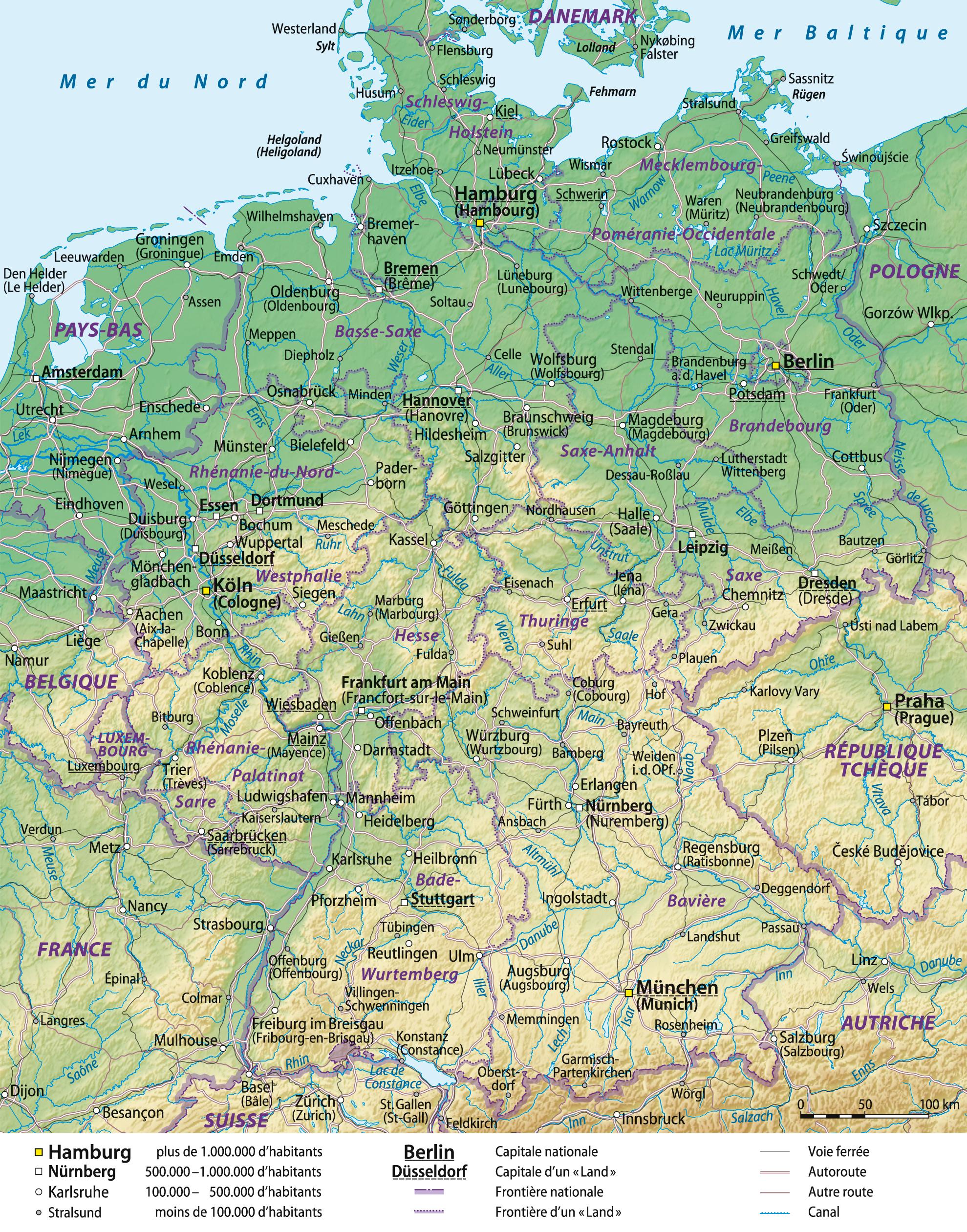 allemagne carte géographique