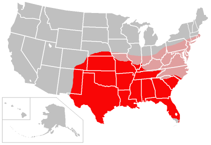 The current (circa 2009-2010) range (shaded red), and predicted future range (shaded pink) of the nine-banded armadillo in the USA Armadillo range expansion.png