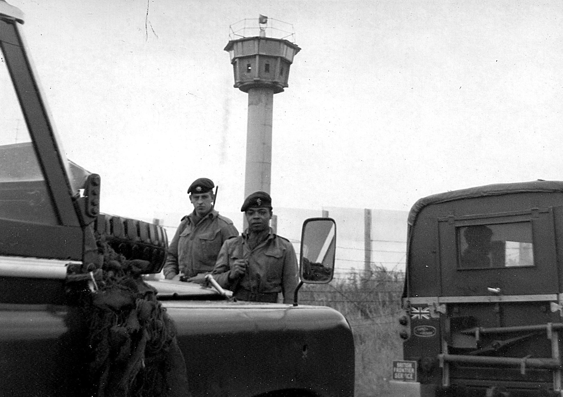 Joint British Army / British Frontier Service patrol on the inner German border between Helmstedt and Wolfsburg.
