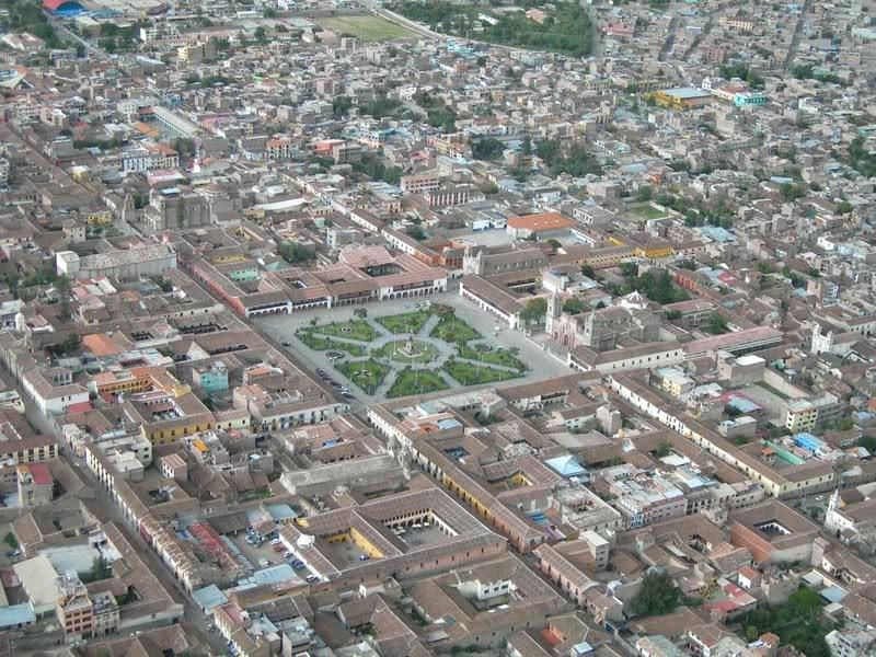 Vista aérea del Centro Histórico de Huamanga