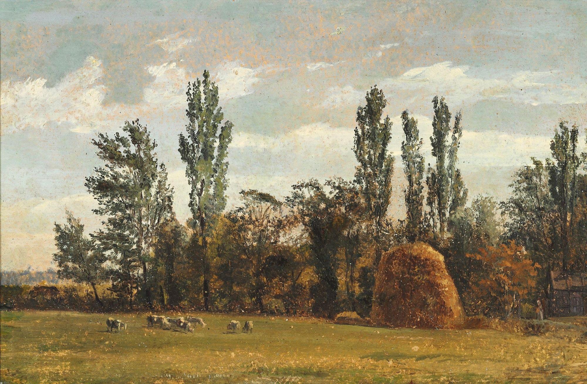 File:Christen Købke - Landskabsstudie med høstak (c.1836 ...