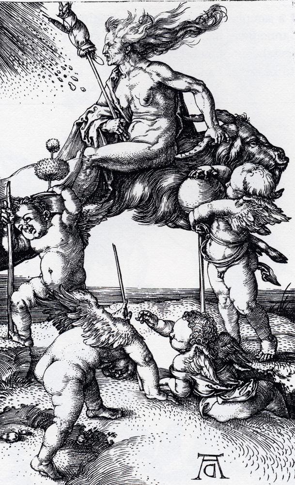 An image of a witch riding a goat by Albrecht Dürer.