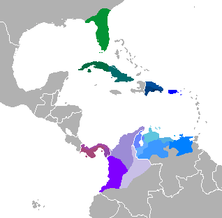 Varieties of Caribbean Spanish, including Florida, The Greater Antilles, Panama and the Atlantic coast of Colombia and Venezuela.