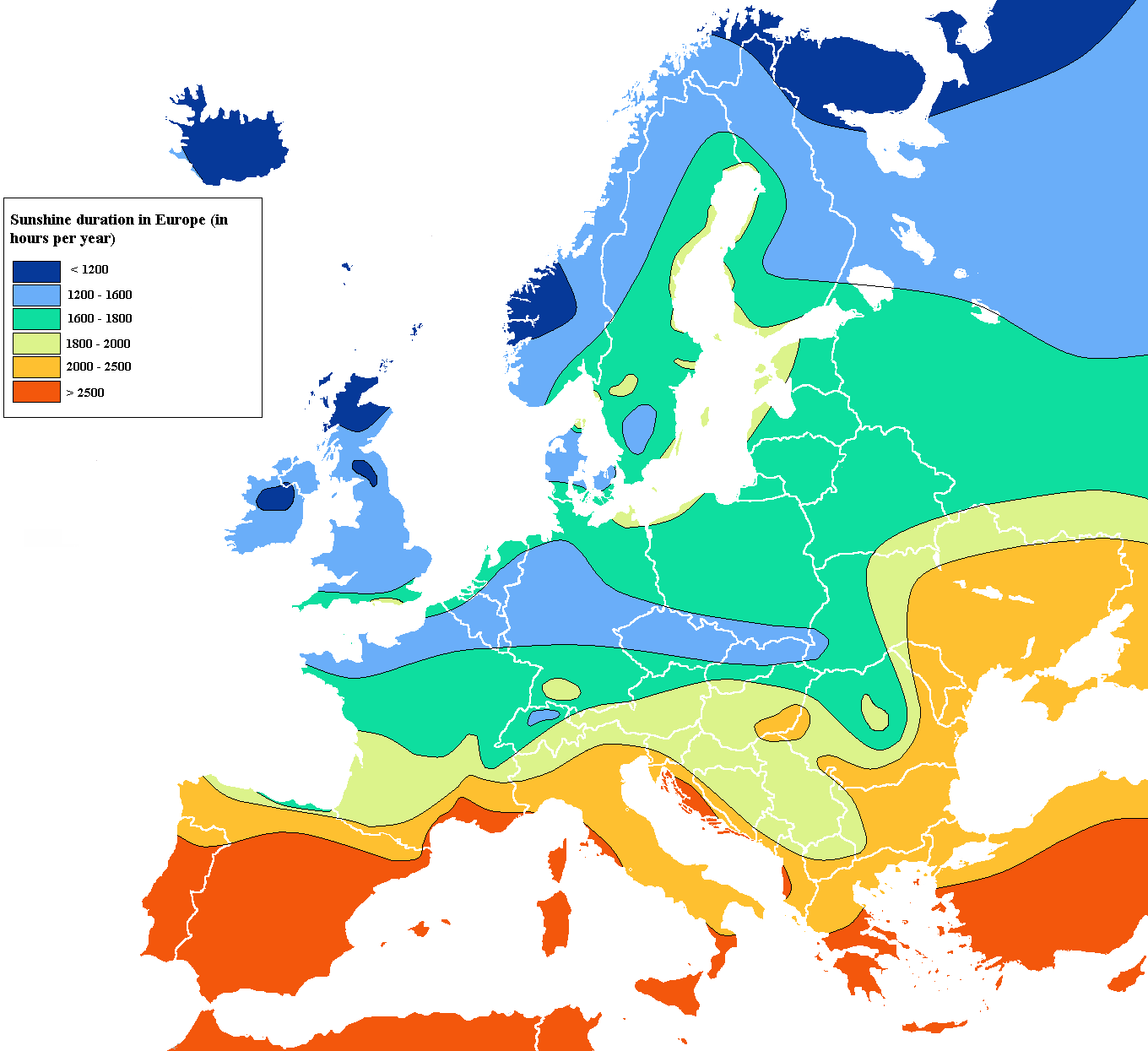 FileEurope sunshine hours mappng Wikimedia Commons