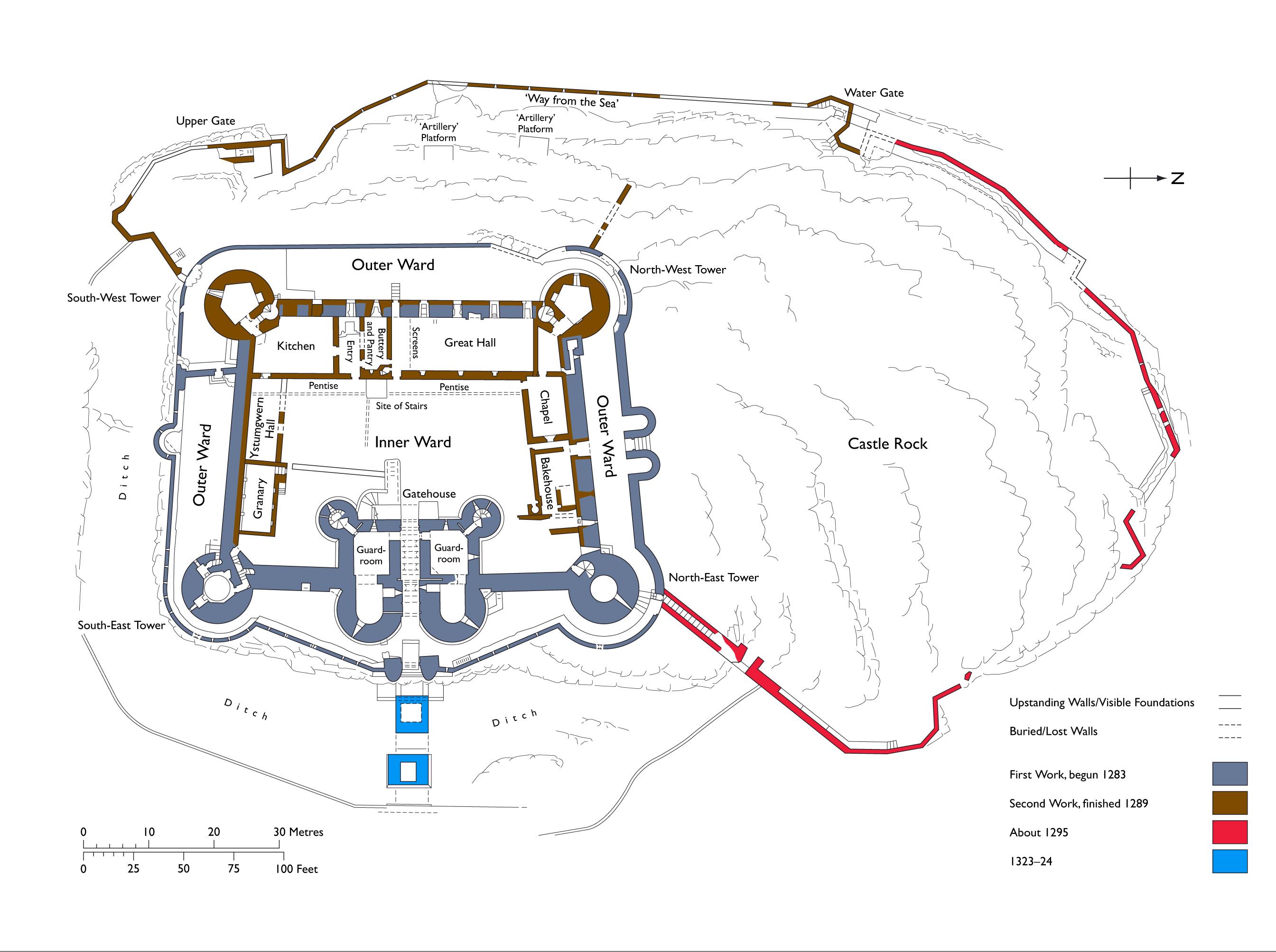 File harlech castle wikimedia commons for Castle plans