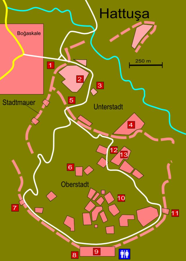 Übersichtskarte von Hattuşa