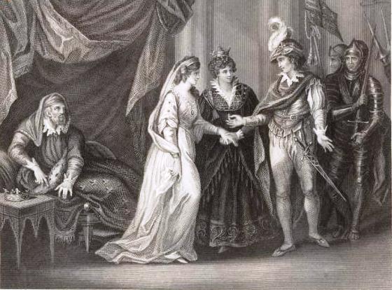 Бракосочетание Генриха V с принцессой Франции. Гравюра 1841 г. Изображение из Википедии. Слева, видимо, изображен папа невесты, который что-то подозревает.