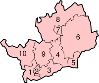 map with districts numbered