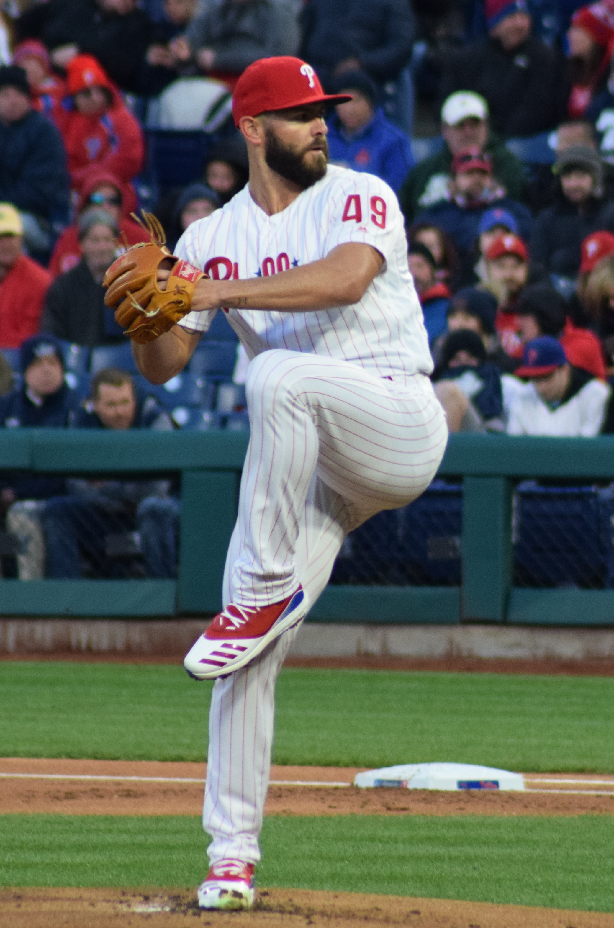 The 34-year old son of father (?) and mother(?) Jake Arrieta in 2021 photo. Jake Arrieta earned a 10 million dollar salary - leaving the net worth at 20 million in 2021