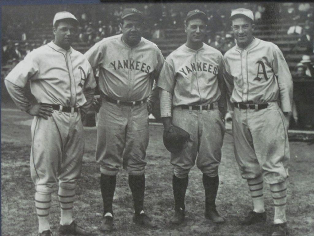 innovative design 449ac c0279 File:Jimmie Foxx, Babe Ruth, Lou Gehrig, Al Simmons.jpg ...