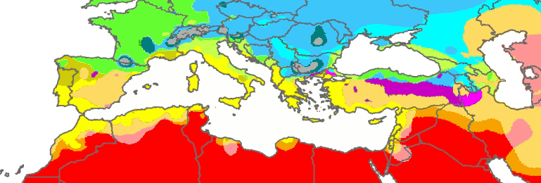 Map of climate zones in the areas surrounding the Mediterranean Sea, according to the Köppen climate classification