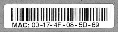 MAC address barcode 00-17-4F-08-5D-69