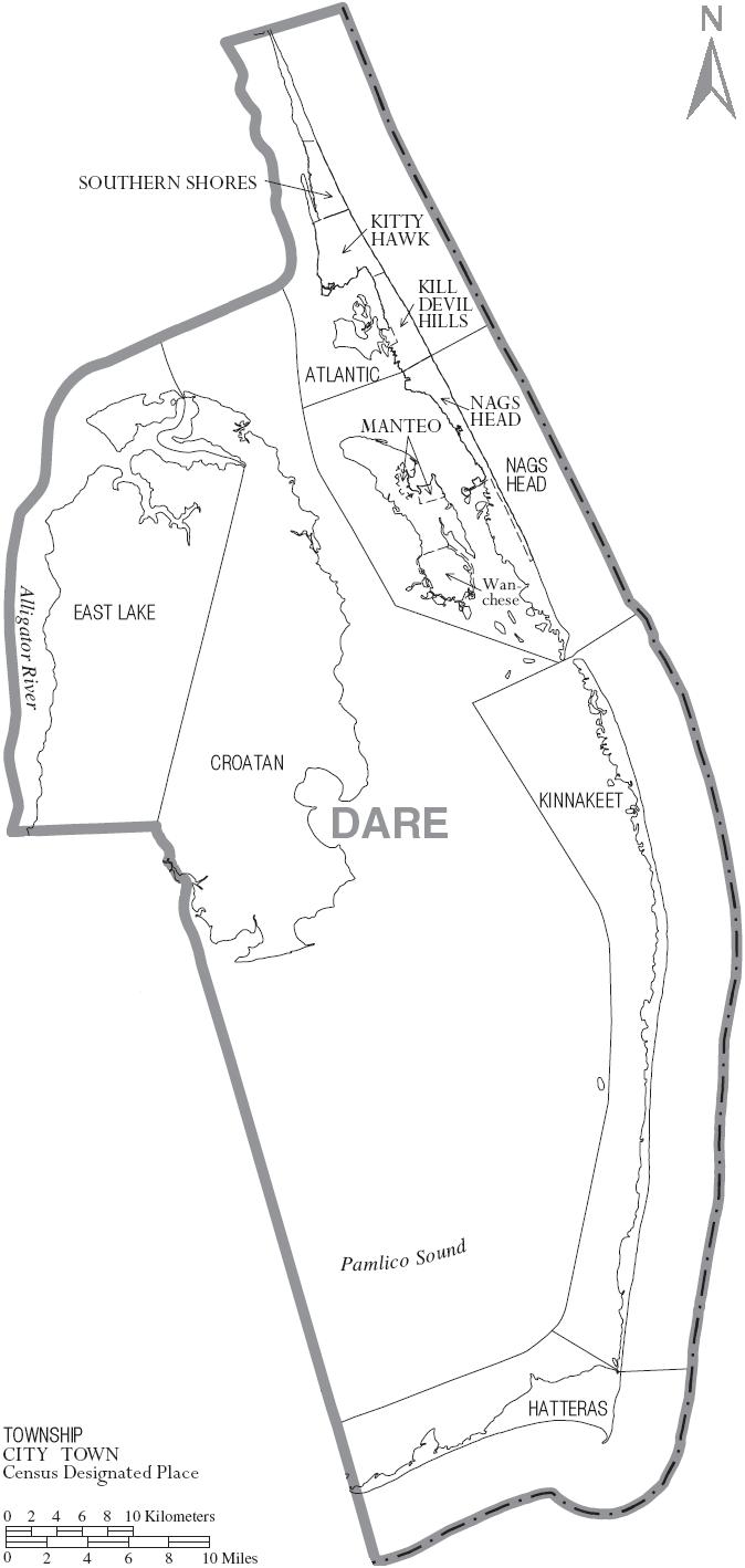 FileMap Of Dare County North Carolina With Municipal And Township - Map of no carolina