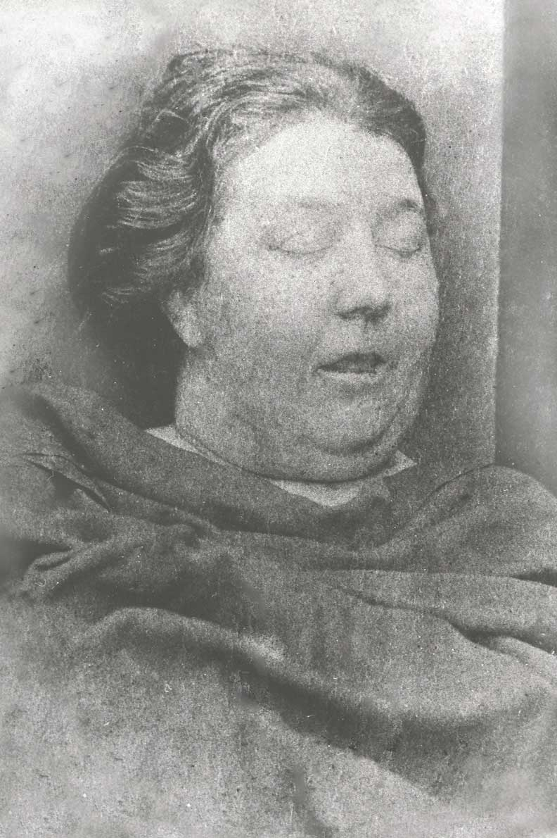 Mortuary photograph of Tabram: a well-fed middle-aged woman