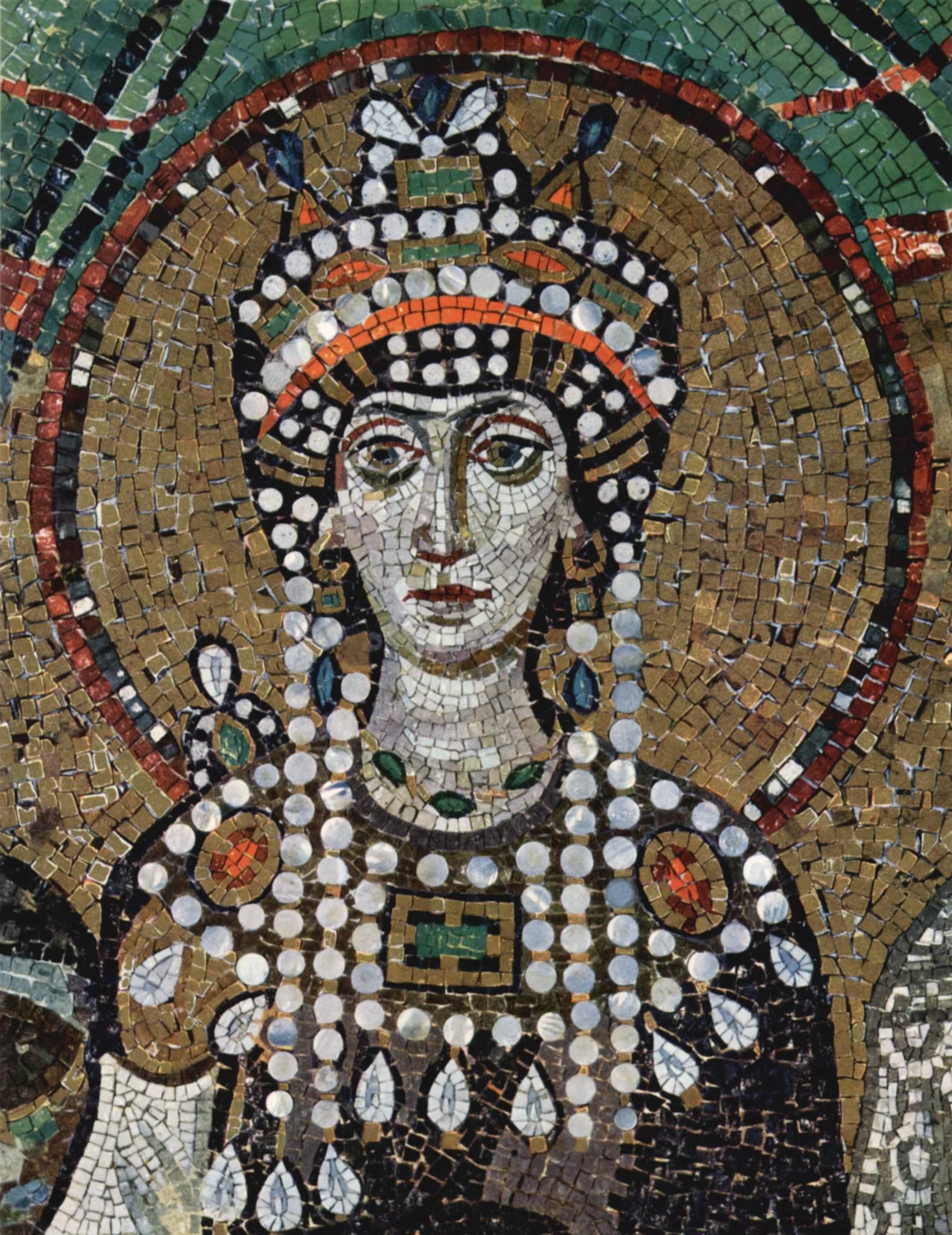 Teodora (S. Vitale, Ravenna). L'imperatrice bizantina nel 548 e.v. probabilmente di cancro al seno.