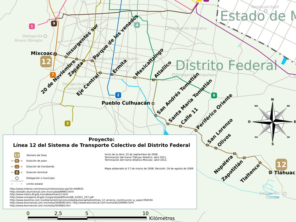 Mapa Del Metro Linea 12