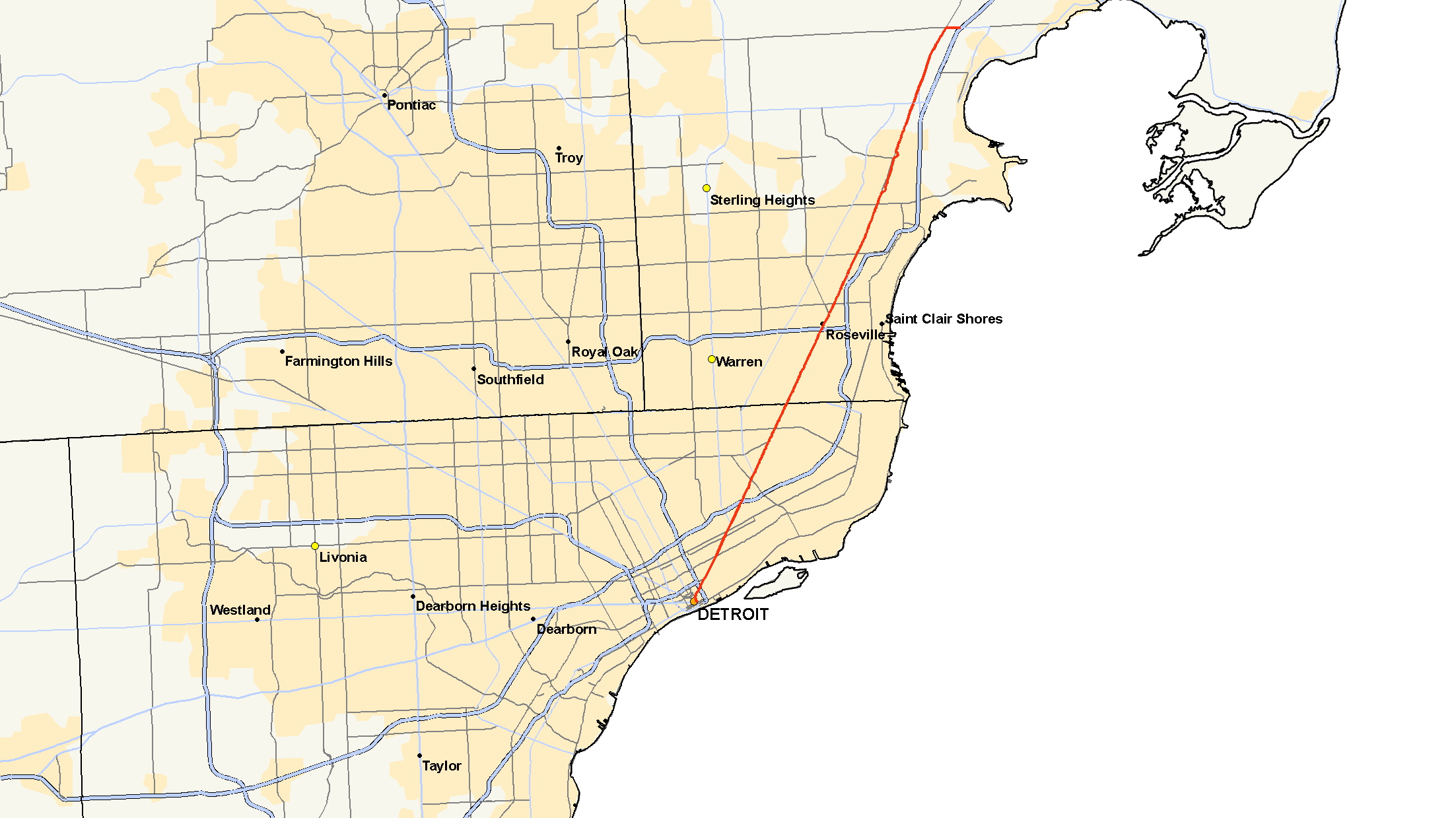 Detroit Michigan Map Google.M 3 Michigan Highway Wikipedia