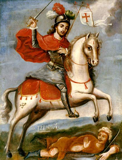 St James the Great, depicted as Santiago Matamoros (Santiago the Moor-slayer) Painting of Santiago Matamoros.jpg