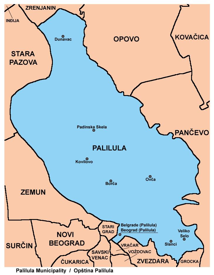 padinska skela mapa Opština Palilula (Beograd)   Wikipedia padinska skela mapa