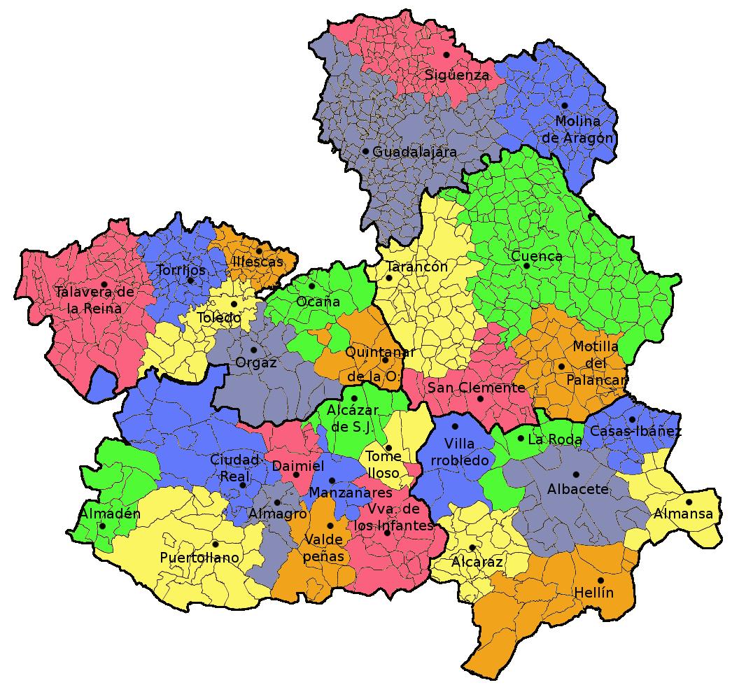 Mapa Castilla La Mancha Png.Archivo Partidos Judiciales Castilla La Mancha Png