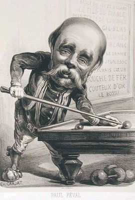 1862 lithographic caricature of Paul Féval by [[Étienne Carjat]].