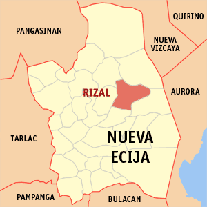 Map of Nueva Ecija showing the location of Rizal