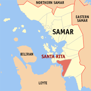 Map of Samar showing the location of Santa Rita