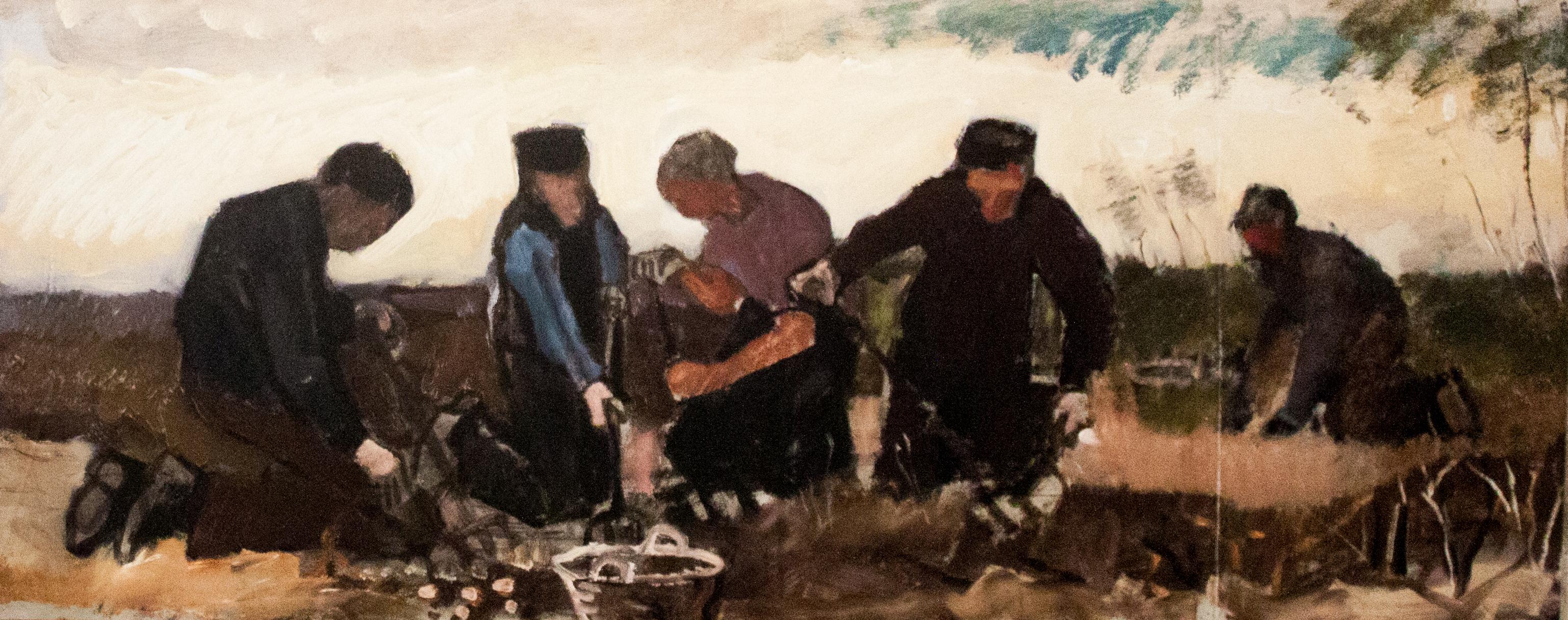 at a potato digging