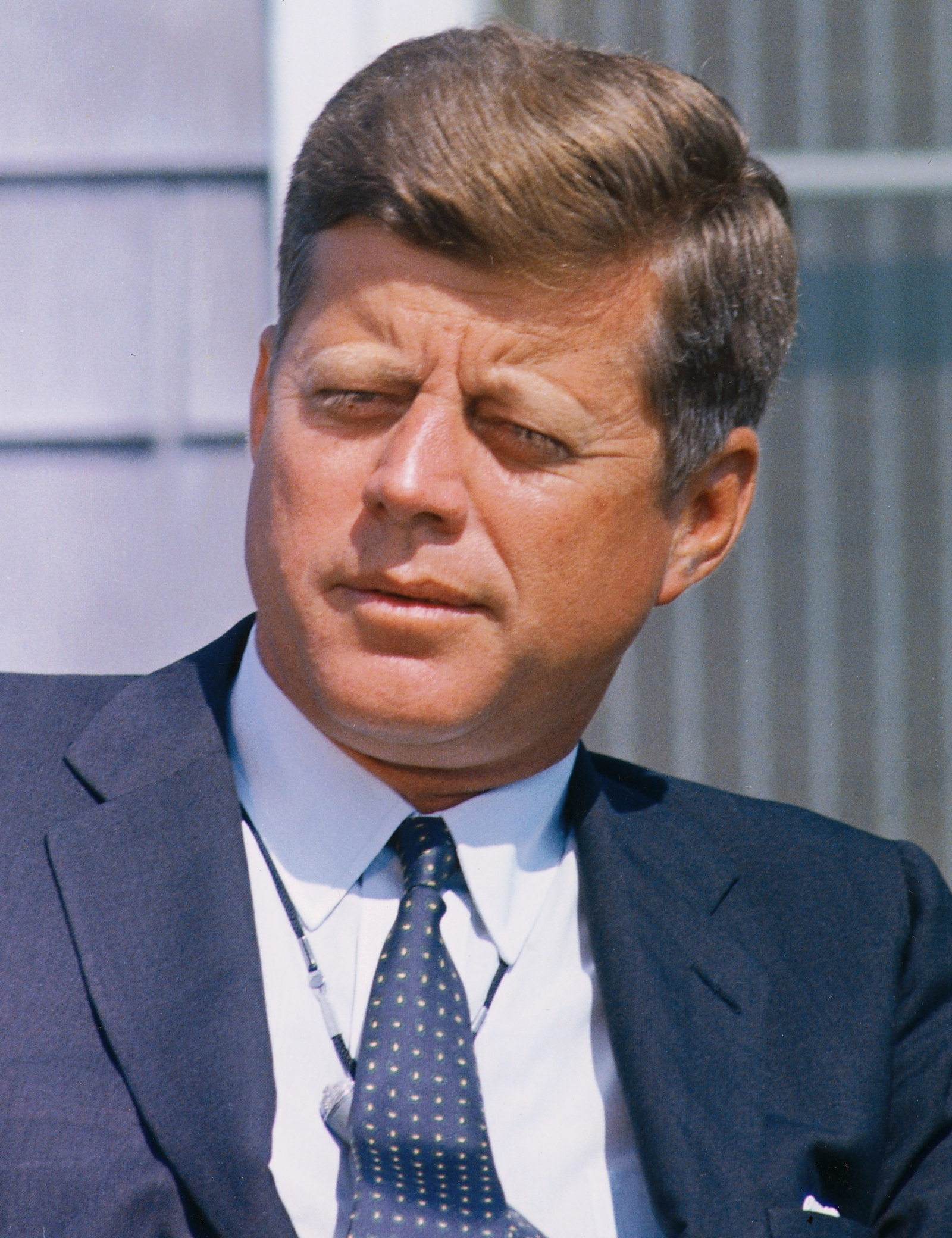 President interviewed by Walter Cronkite. President Kennedy ( close-up ). Hyannisport, MA, Squaw Island. - NARA - 194259 (edit).jpg
