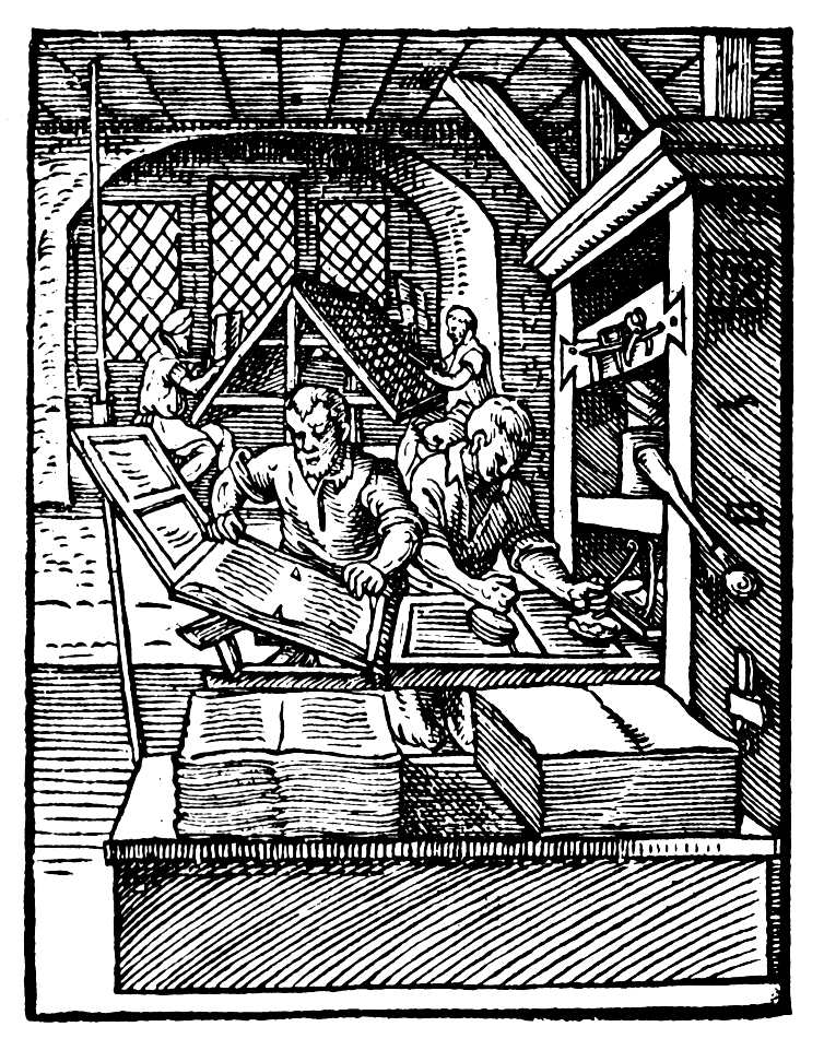Woodcut image of a printer's shop from 1568