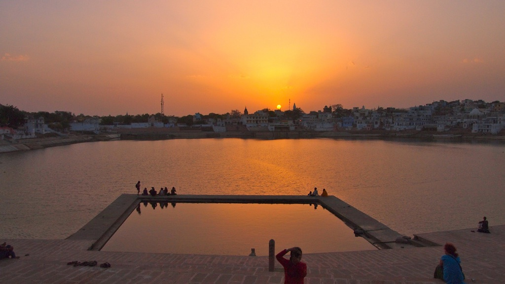 Image result for sunset in Pushkar