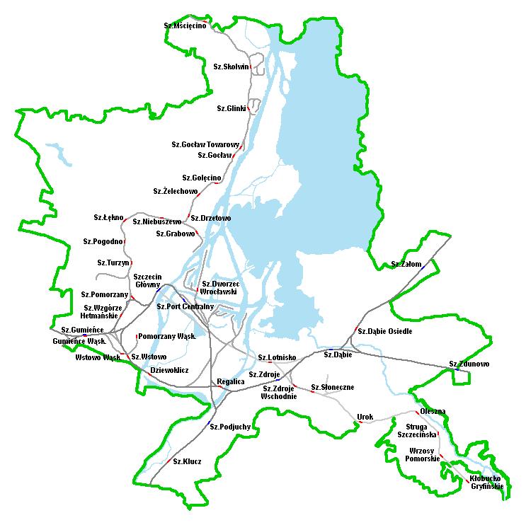 Schemat Szczecińskiej Sieci Kolejowej