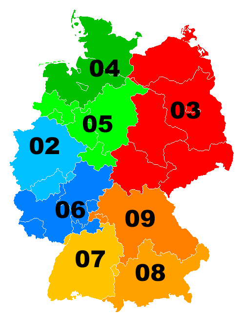 Area Codes of Germany By WikiNight at the German language Wikipedia [GFDL (http://www.gnu.org/copyleft/fdl.html) or CC-BY-SA-3.0 (http://creativecommons.org/licenses/by-sa/3.0/)], from Wikimedia Commons