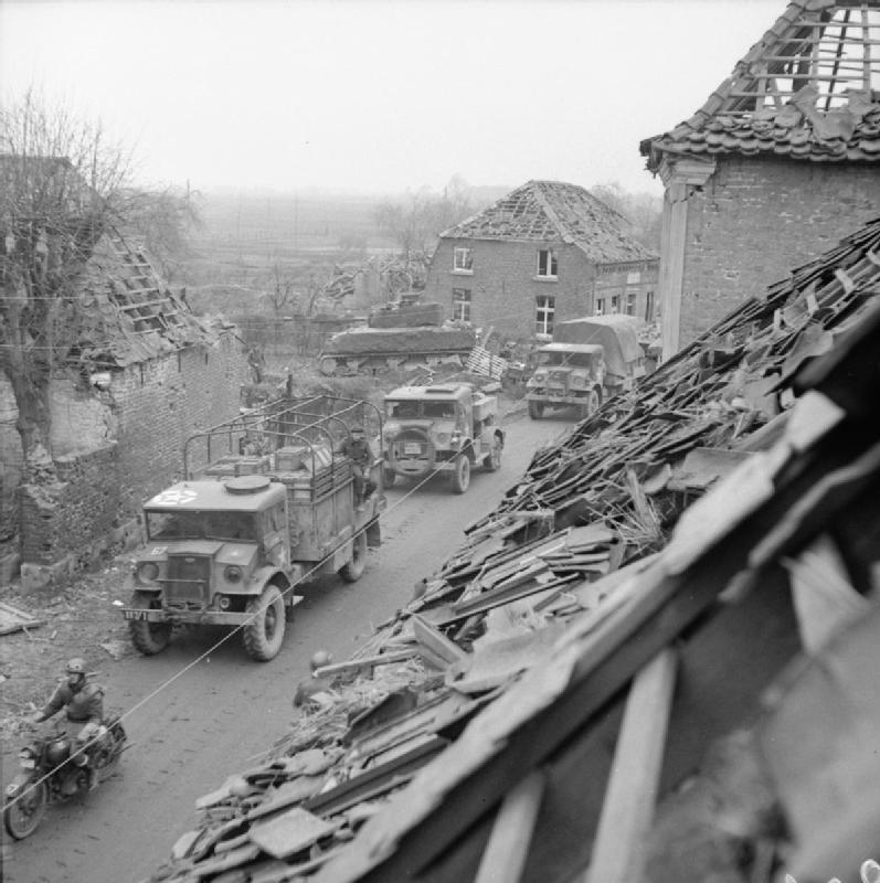 CMP (Canadian Military Pattern) trucks passing through Uedem