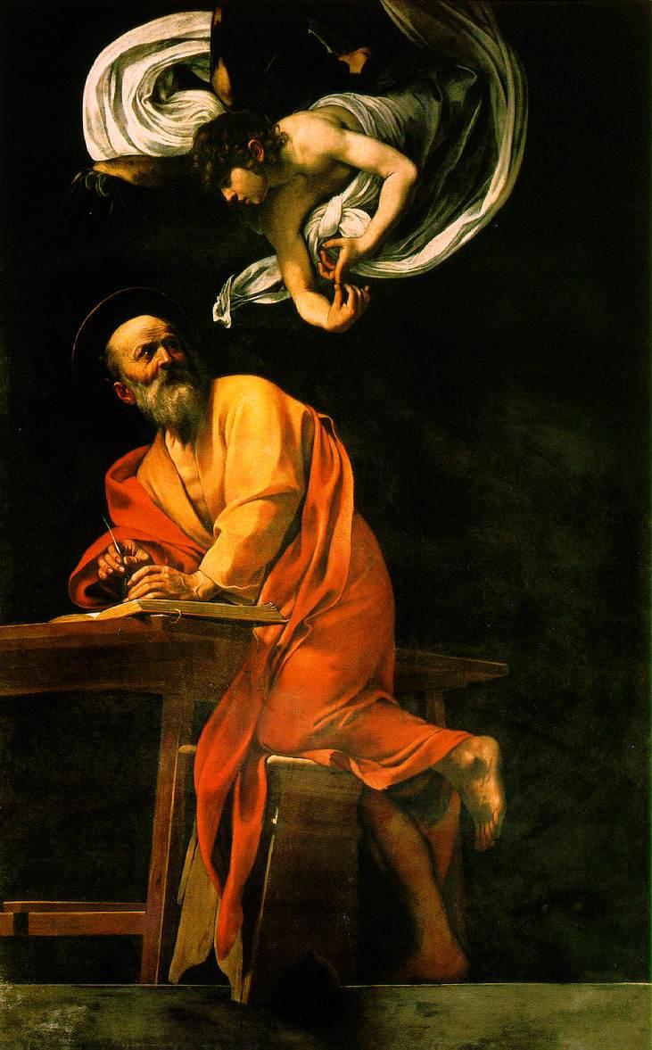 Saint Matthieu dans images sacrée The_Inspiration_of_Saint_Matthew_by_Caravaggio