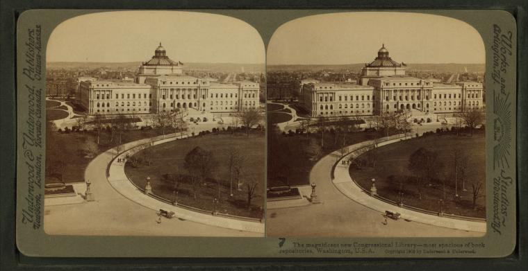 Image: Stereoscopic view of the Library of Congress, Washington, D.C. From Robert N. Dennis collection of stereoscopic views. 1890-1910? New York Public Library. [Public domain], via Wikimedia Commons.