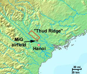 """Thud Ridge nickname given by United States Air Force F-105 """"Thud"""" pilots during the Vietnam War to the Tam Dao range"""
