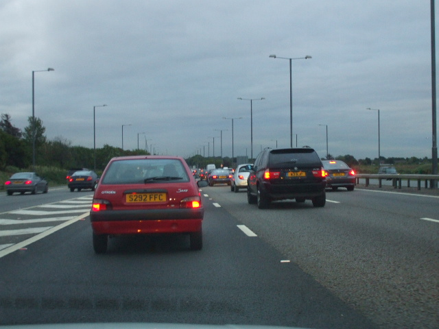 Phillip Perry / Traffic Jam at J4 on the M4 - geograph.org.uk - 954561