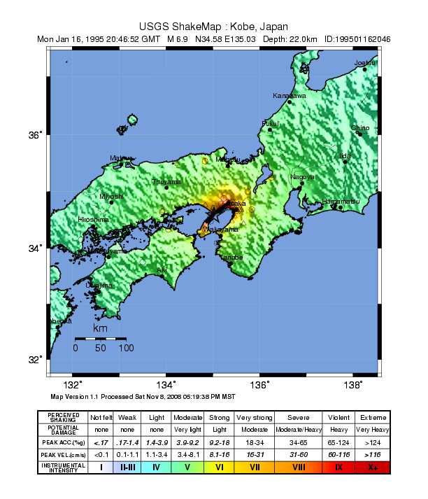 FileUSGS Shakemap 1995 Kobe earthquakejpg Wikimedia Commons