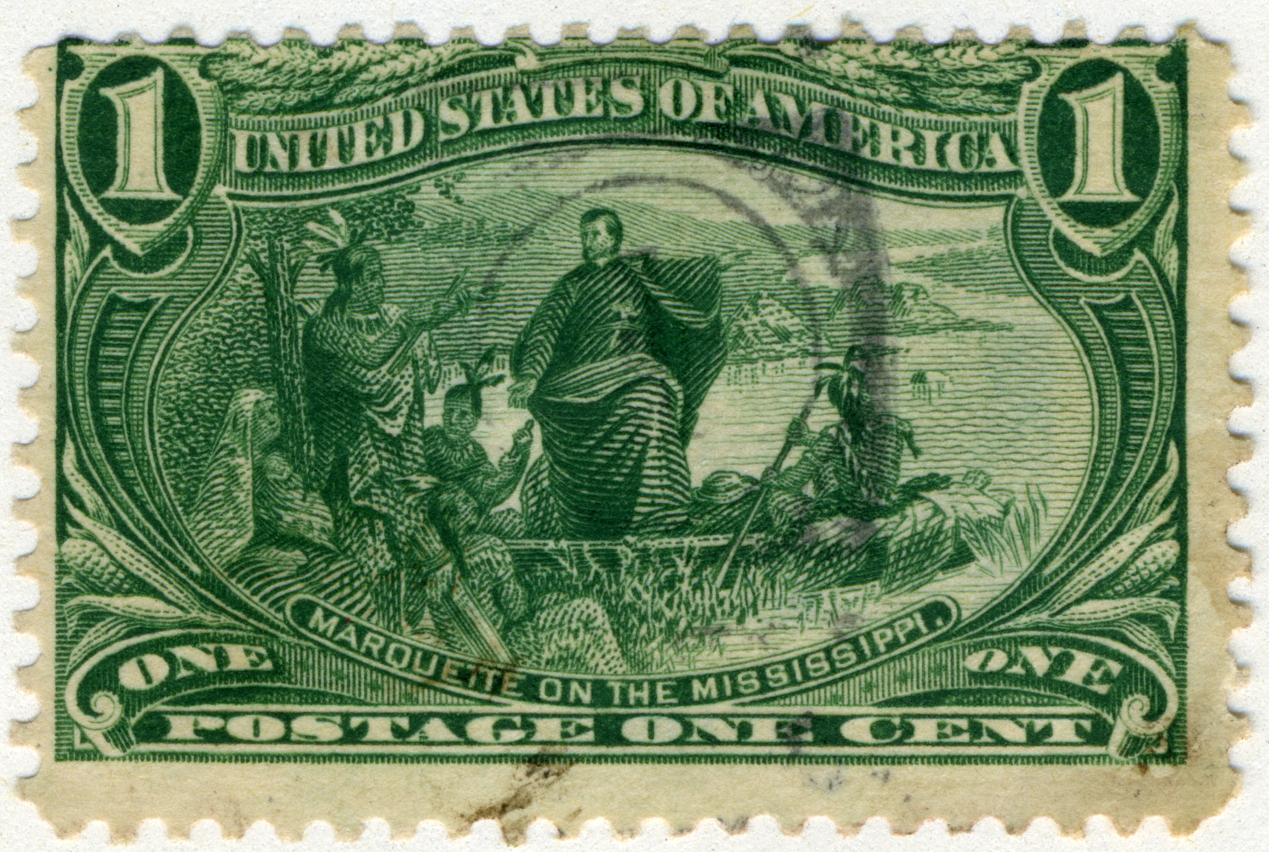 FileUS Stamp 1898 1c Marquette On The Mississippi