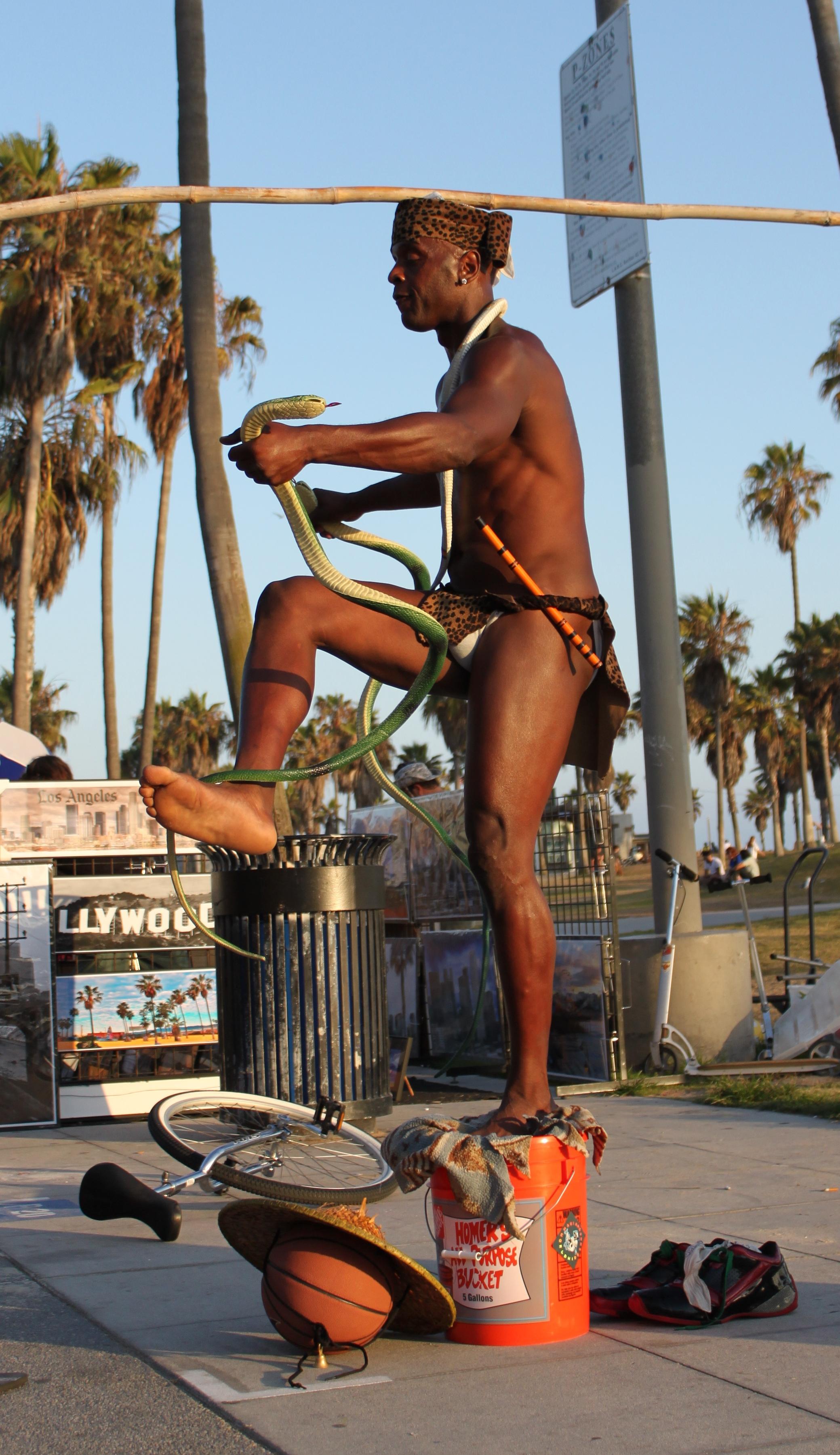 King Solomon the Snake Charmer on the Venice Boardwalk.