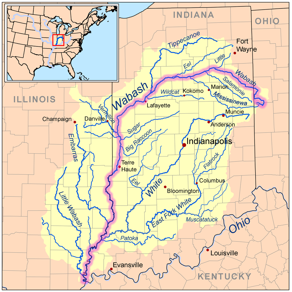 Wabash River Map Wabash River   Wikipedia
